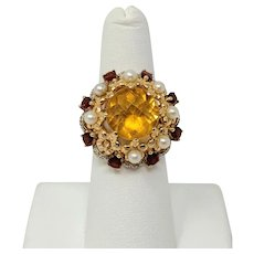 14k Yellow Gold Citrine Pearl Garnet and Diamond Cluster Ring MEDA Size 6.5