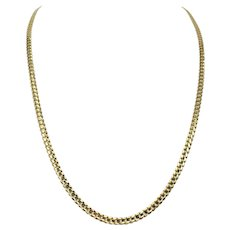 14k Solid Yellow Gold 4mm Curb Link Chain Necklace 25 Inches