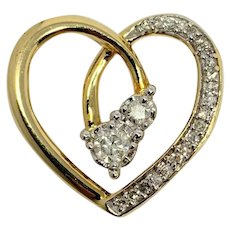 10k Yellow Gold and .36ct Diamond Heart Pendant