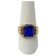 10k Yellow Gold and Blue Spinel Men's Ring Size 9
