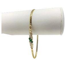 14k Yellow Gold Emerald and Diamond Herringbone Chain Bracelet 8 Inches