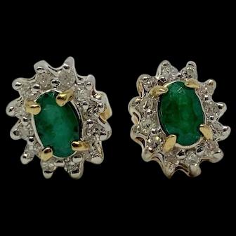 14k Yellow Gold Emerald and Diamond Halo Stud Earrings