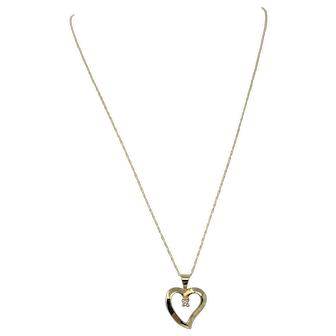 14k Yellow Gold and Diamond Heart Shaped Pendant and Necklace 21.5 Inches