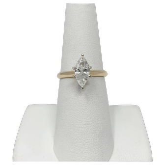 1ct Marquise Cut Diamond Solitaire Engagement Ring 14k Yellow Gold Size 7