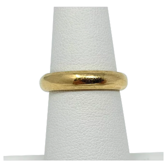 18k Solid Yellow Gold Hammered Textured Edge Wedding Band Ring Italy Size 6