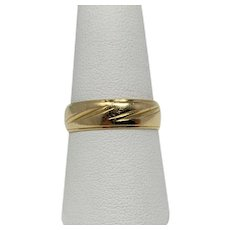 14k Solid Yellow Gold Vintage Etched Wedding Band Ring Size 9