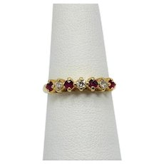 14k Yellow Gold Diamond and Ruby Ring Band Size 6