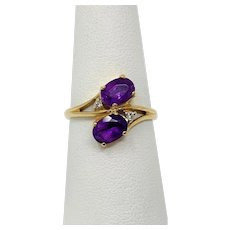 14k Yellow Gold Vintage Amethyst and Diamond Ring Size 8
