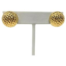 14k Yellow Gold Hollow Half Sphere Textured Omega Back Earrings Italy