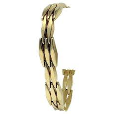 14k Yellow Gold Diamond Shape Link Fine Fancy Women's Bracelet Italy 7 Inches