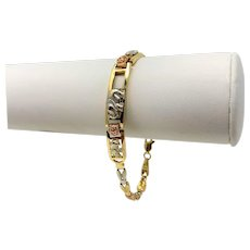 14k Yellow White and Rose Gold Tri Tone Vintage Elephant Chain Link Bracelet 7.5