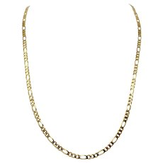 14k Solid Yellow Gold 3.7mm Figaro Link 17g Chain Necklace Italy 31.5 Inches