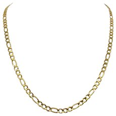 14k Solid Yellow Gold 4.5mm Figaro Link 13.6g Chain Necklace Italy 21 Inches
