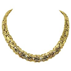 14k Solid Yellow Gold Never Worn Heavy 73.4g Byzantine Chain Necklace 18 Inches