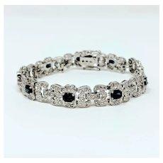 """14k White Gold .8ct Diamond and Blue Sapphire JCR John C. Rinker Bracelet 7"""""""