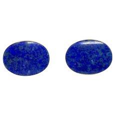 14k Yellow Gold Vintage Blue Oval Lapis Lazuli Stud Earrings