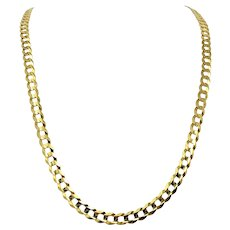10k Solid Yellow Gold 7mm Curb Link 30.8g Long Chain Necklace 30""