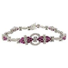 "14k White Gold 1.05ct Diamond 1ct Pink Sapphire Behzad Sarhady Bracelet 7"""
