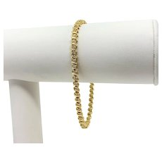 14k Yellow Gold and 1.08ct Diamond Women's Tennis Link Bracelet 7.25 Inches