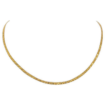 22k Solid Yellow Gold Vintage Bismark Link Chain Necklace 16 Inches