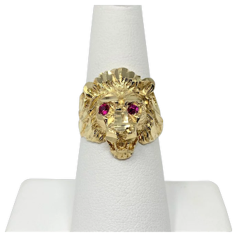 14k Solid Yellow Gold and Ruby Eyes Lion Head Ring Size 7