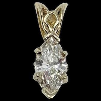14k Gold .36ct Marquise Cut Diamond Solitaire Pendant Color J Clarity SI1