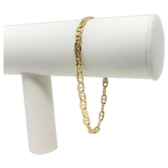 14k Yellow Gold Anchor Mariner Gucci Link Bracelet Italy 8 Inches