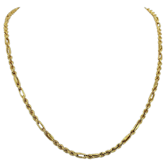 14k Yellow Gold Hollow Rope Chain Necklace With Straight Links 21 Inches