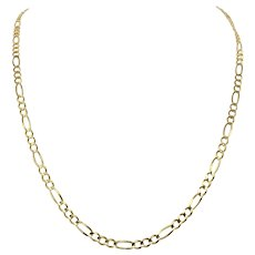 14k Solid Yellow Gold 4mm Figaro Link 11g Chain Necklace Italy 23 Inches