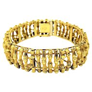 "14k Yellow Gold 44g Vintage Bamboo Link Fine Unoaerre Brev Italy Bracelet 7.5"""