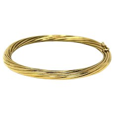 14k Yellow Gold Vintage 20g Spiral Twist Hinged Bangle Bracelet Italy 7 Inches