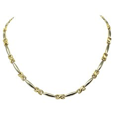 14k Two Tone Yellow and White Gold Curved X and Bar Link Necklace 17 Inches