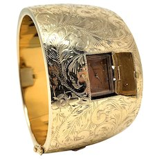 "14k Gold Ladies Wide Hinged Bangle Hidden Marvin Watch 98g Bracelet 6.75"""