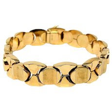 18k Fine Yellow Gold 25g Fancy Circle Link Chain Bracelet Italy 7.5 Inches