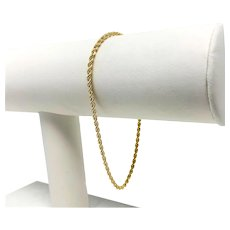 18k Yellow Gold Hollow 2mm Rope Chain Bracelet Falco Italy 7.5 Inches