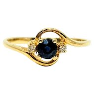14k Yellow Gold Blue Sapphire and Diamonds Ring Size 6