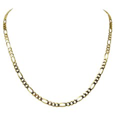 14k Solid Yellow Gold 4.5mm Figaro Link 17.1g Chain Necklace Italy 20.5 Inches