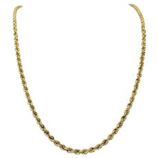 14k Yellow Gold Hollow 4mm Rope Chain 13.5g Necklace 25 Inches