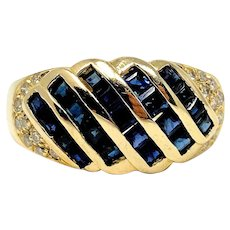 14k Yellow Gold Blue Sapphire and .18ct Diamond Ring HK Size 6.5