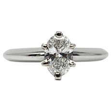 GIA Certified .49ct Oval Cut Brilliant Solitaire Diamond Engagement Ring Size 6