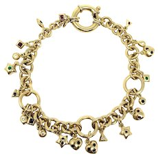 14k Solid Yellow Gold 36g Vintage Circle Link Charm Bracelet 7.5 Inches