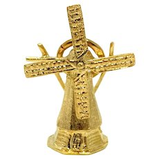 18k Solid Yellow Gold Vintage Moveable Windmill Charm Bracelet Charm