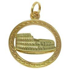 18k Yellow Gold Flat Vintage Rome Coliseum Charm Bracelet Charm Italy