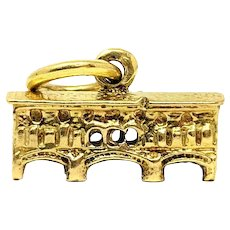 18k Solid Yellow Gold Vintage Covered Bridge Charm Bracelet Charm