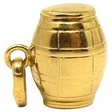 18k Yellow Gold Vintage Wine Barrel Charm Bracelet Charm Italy