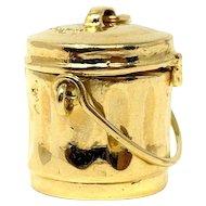 14k Yellow Gold Mad Money Garbage Trash Can Charm Bracelet Charm