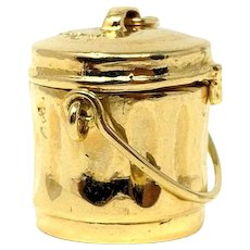 14k Yellow Gold Mad Money Garbage Trash Can Charm Bracelet Charm