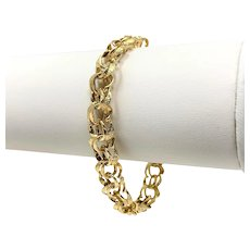 14k Yellow Gold Diamond Cut Double Curb Link Charm Bracelet 7 Inches