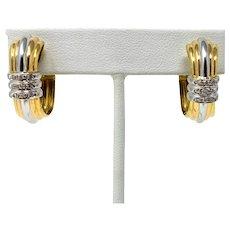 19k Two Tone Yellow White Gold and Diamond Huggy Hoop Omega Back Earrings