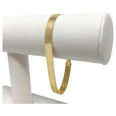 "14k Yellow Gold Reversible Smooth Etched Milor Herringbone Bracelet Italy 7.5"""